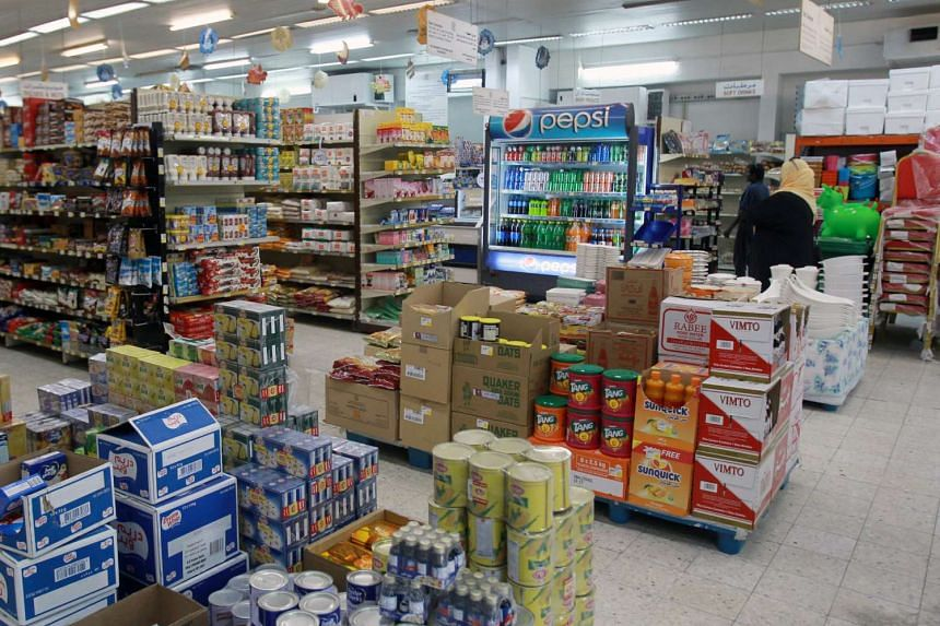 Food items are seen in a supermarket in Doha.