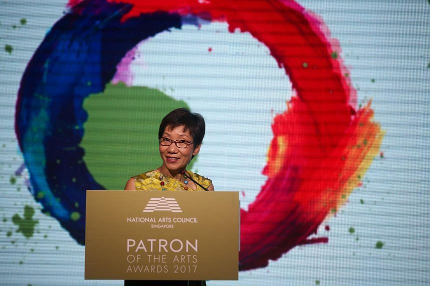 Minister Grace Fu speaking at the 34th Patron of the Arts Awards on July 12, 2017.