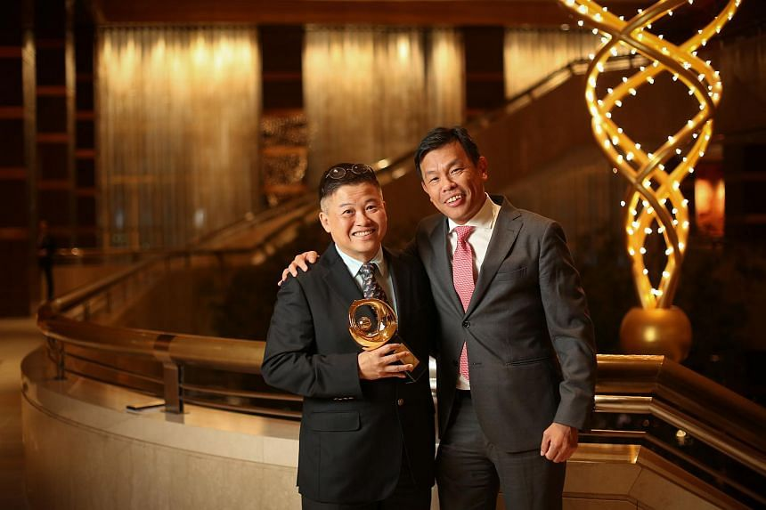 Chan Kok Hua (left), a Patron of the Arts, with Terence Ho Wee San, executive director at Singapore Chinese Orchestra.