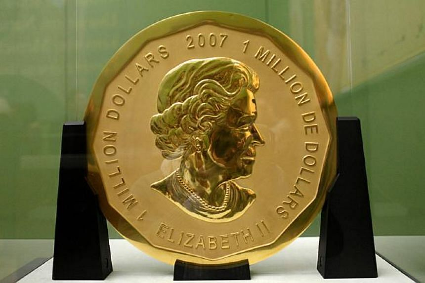 """The """"Big Maple Leaf"""" gold coin on display at Berlin's Bode Museum. Police said on July 12, 2017 that they have arrested several people in connection with the theft of the coin."""