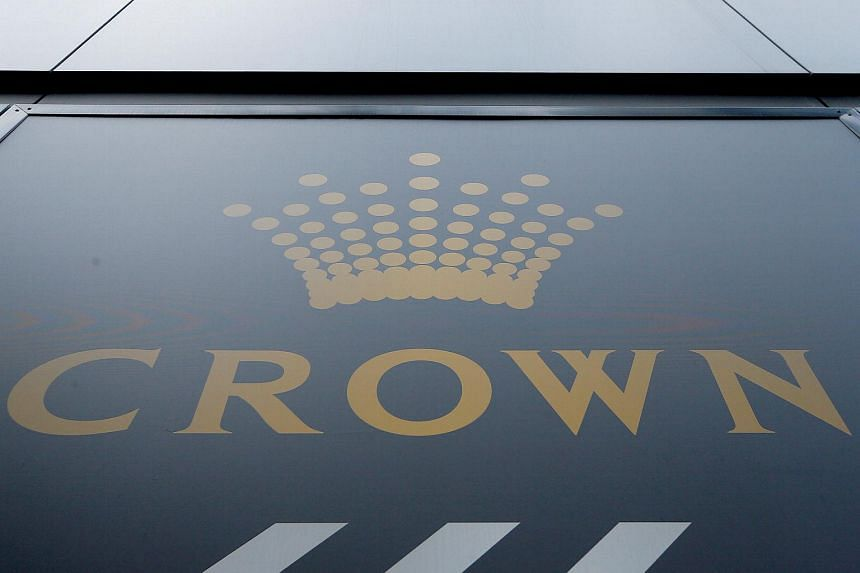 The logo of Australian casino giant Crown Resorts Ltd adorns the hotel and casino complex in Melbourne.