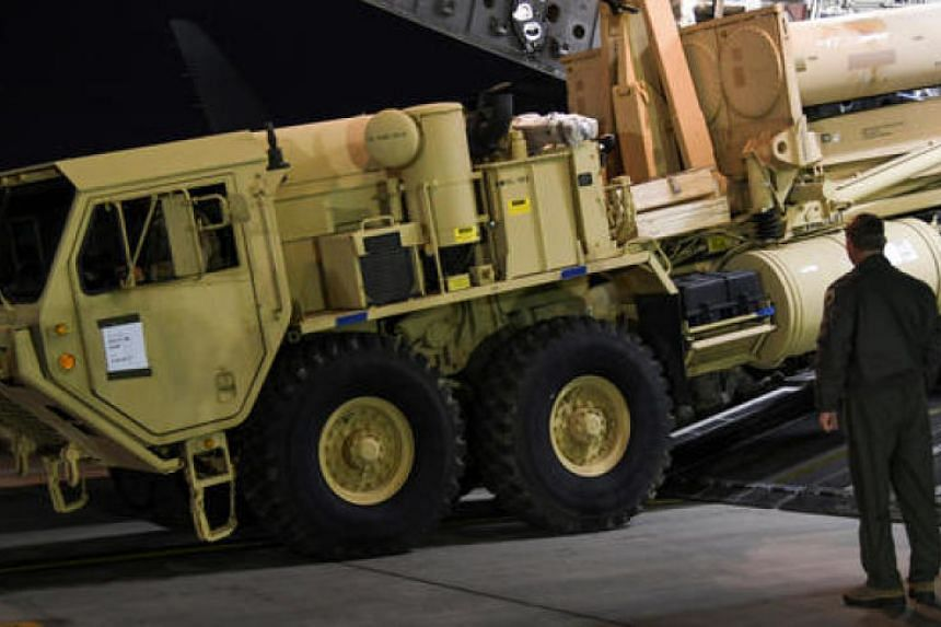 A Terminal High Altitude Area Defense (Thaad) interceptor arriving at Osan Air Base in Pyeongtaek, South Korea, in this handout picture provided by the United States Forces Korea and released by Yonhap in March 2017. The US has deployed Thaad to Guam