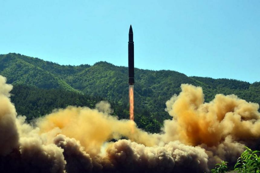 This picture taken on July 4, 2017 and released by North Korea's official Korean Central News Agency (KCNA) on July 5, 2017 shows the successful test-fire of the intercontinental ballistic missile Hwasong-14 at an undisclosed location.