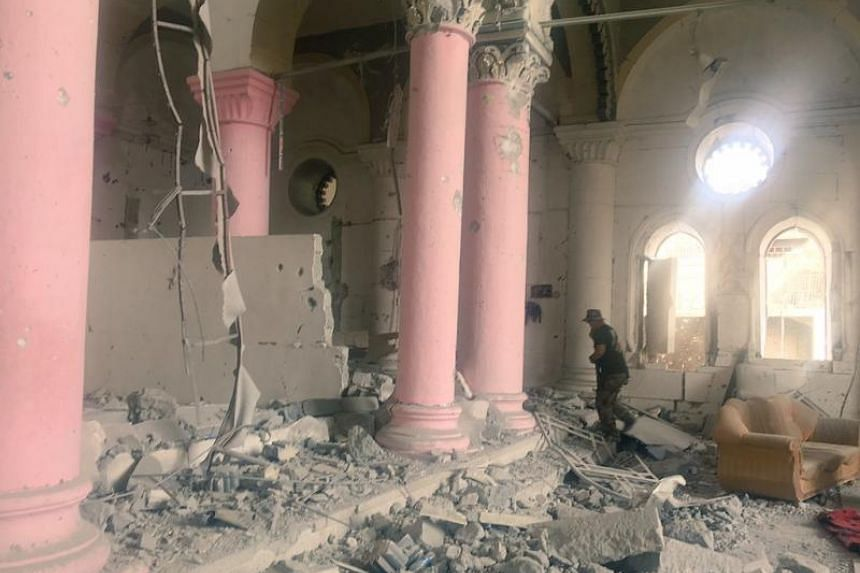 A church which had been recently occupied by Islamic State militants in western Mosul, Iraq, July 10, 2017. Churches, like mosques, were crucial hideouts for Islamic State members, who rightly assumed coalition forces would be reluctant to bomb relig