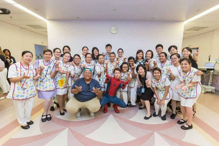 Tom Holland, dressed as Spider-Man, charmed patients when he visited KK Women's and Children's Hospital in June.
