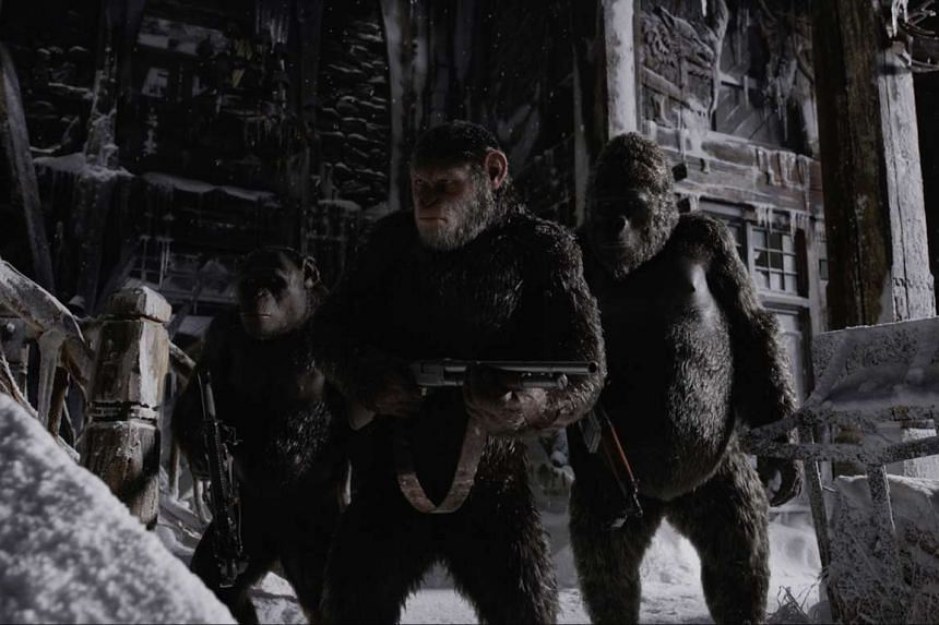 Simians and humans continue to be locked in fierce confrontation in War For The Planet Of The Apes (above), the third instalment in the current Planet Of The Apes series.