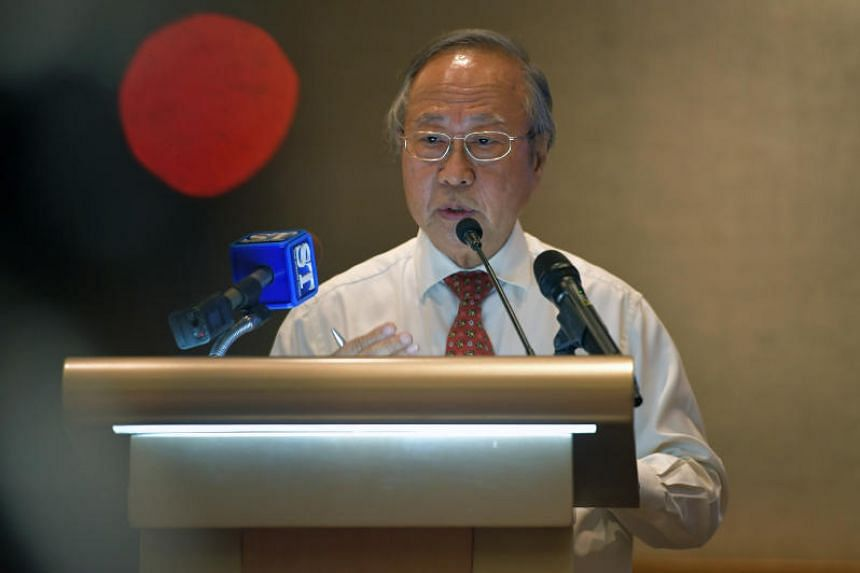 Tan Cheng Bock speaking at a press conference held at the Sheraton Towers on March 31, 2017.