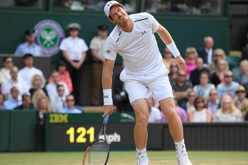 Defending champion Andy Murray in agony after losing a point against American Sam Querrey during their Wimbledon clash yesterday. The Scot will lose his No. 1 ranking if Novak Djokovic wins the tournament.