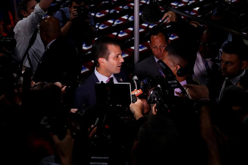 Mr Donald Trump Jr giving a television interview at the 2016 Republican National Convention in Cleveland, Ohio.