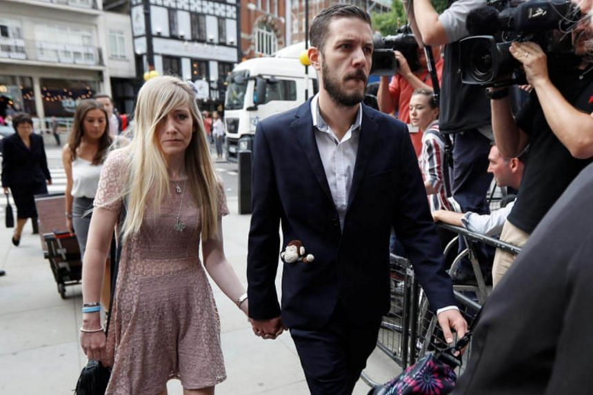 The parents of critically ill baby Charlie Gard, Connie Yates and Chris Gard arrive at the High Court in London, Britain July 13, 2017.