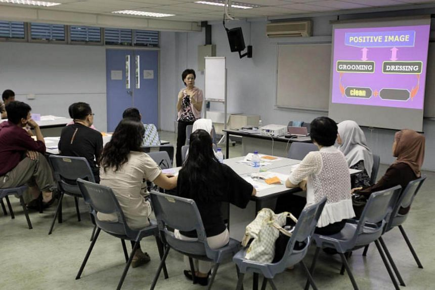 Older and low-wage workers undergoing an employability course at the NTUC's Employment and Employability Institute.