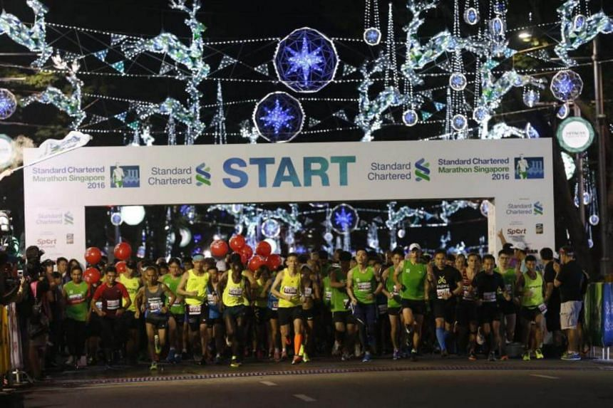 The flag off for the Standard Chartered Marathon Singapore 2016 at Orchard Road.
