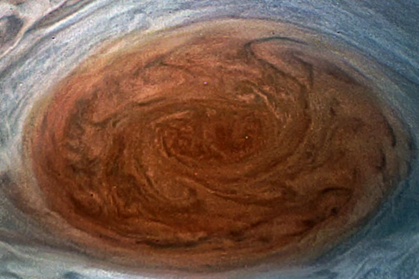 The Great Red Spot on Jupiter taken by the Juno spacecraft on its flyby over the storm on July 11.