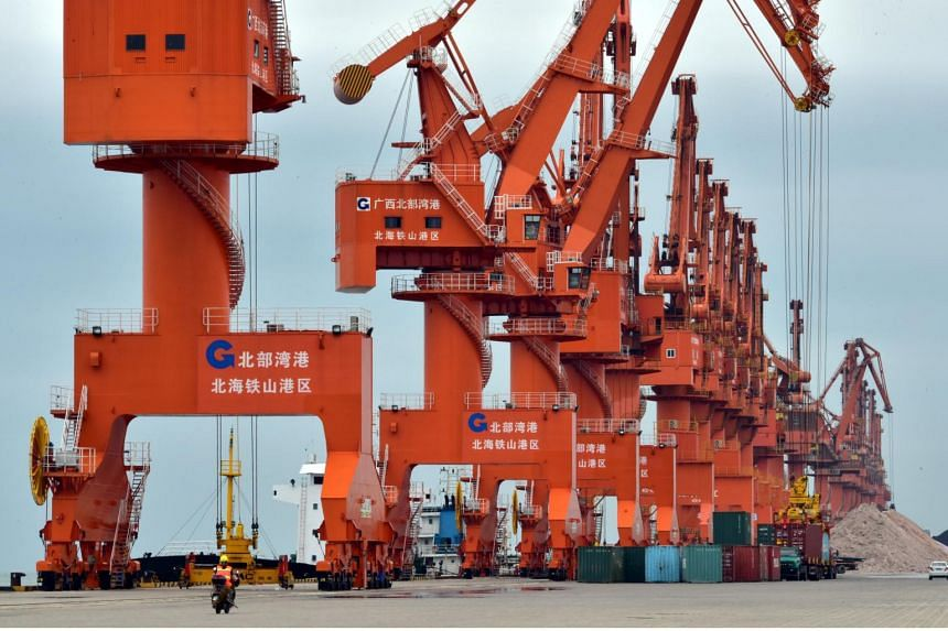 Containers are seen at a port in Beihai, Guangxi province, China.