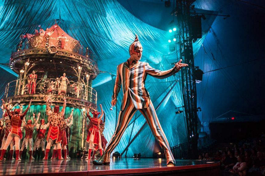 The Trickster, a jester-like figure in striped suits and flaunting a twinkle in his eye, guides the audience through Kooza. PHOTO: MATT BEARD/CIRQUE DU SOLEIL