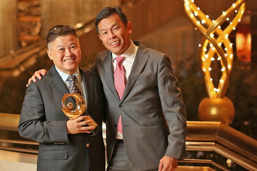 Patron of the Arts Chan Kok Hua (left) with Mr Terence Ho Wee San, executive director of the Singapore Chinese Orchestra, which Mr Chan supports.