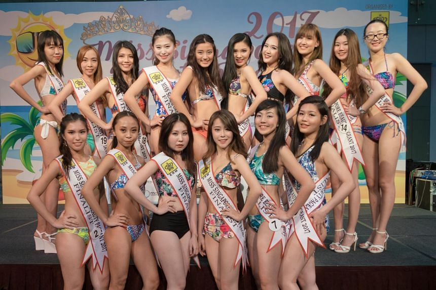 This picture of the finalists in the Miss Singapore Beauty Pageant 2017 was taken at a talent and fashion showcase last Saturday. The women are due to have makeovers over subsequent weeks as part of the contest.