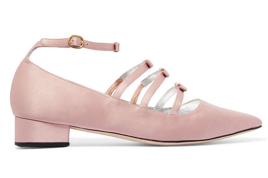 Bow-embellished satin point-toe flats by ALEXACHUNG.