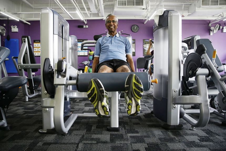 Brisk-walking in a park near his home and hitting the gym (below) are activities Mr N. Subramaniam does every day. In the early 1970s, the former Cedar Girls' sports coach introduced mandatory jogging sessions for all girls, to improve their aerobic