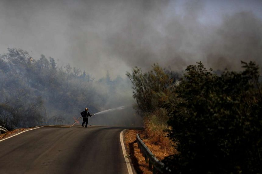 A firefighter works to put out a forest fire during a heatwave in Benaojan, Spain, on July 12, 2017.