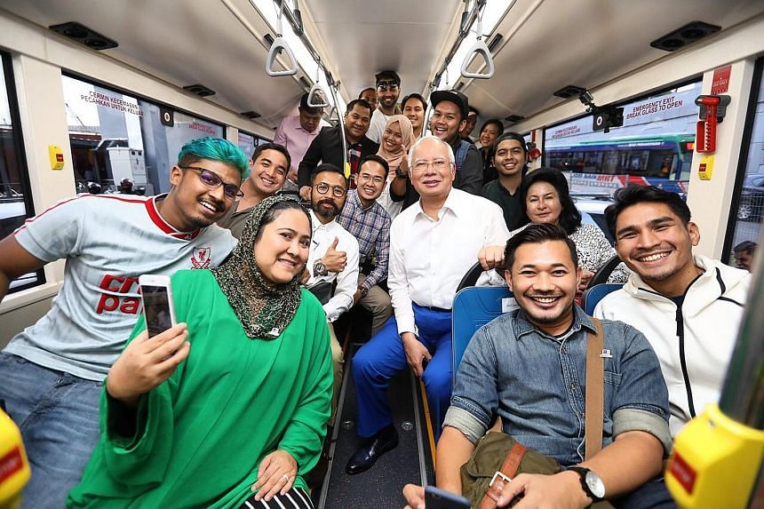 Malaysian Prime Minister Najib Razak and his wife, Ms Rosmah Mansor, travelled seven storeys underground on Wednesday as they tried out the second phase of the MRT line covering Greater Kuala Lumpur with a group of young Malaysians. The second phase