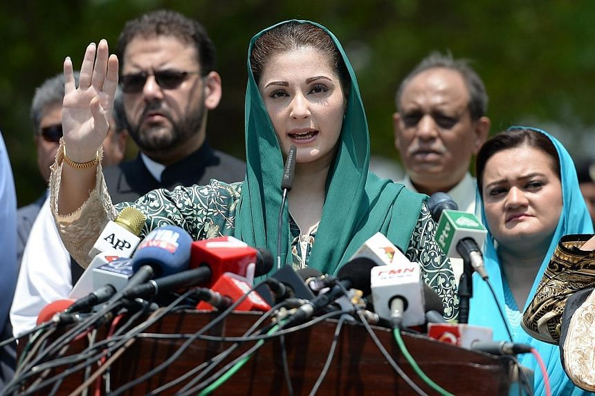 Ms Maryam Nawaz Sharif, the daughter of Prime Minister Nawaz Sharif, talking to journalists in Islamabad on July 5 after appearing before an investigation team formed by the Supreme Court.