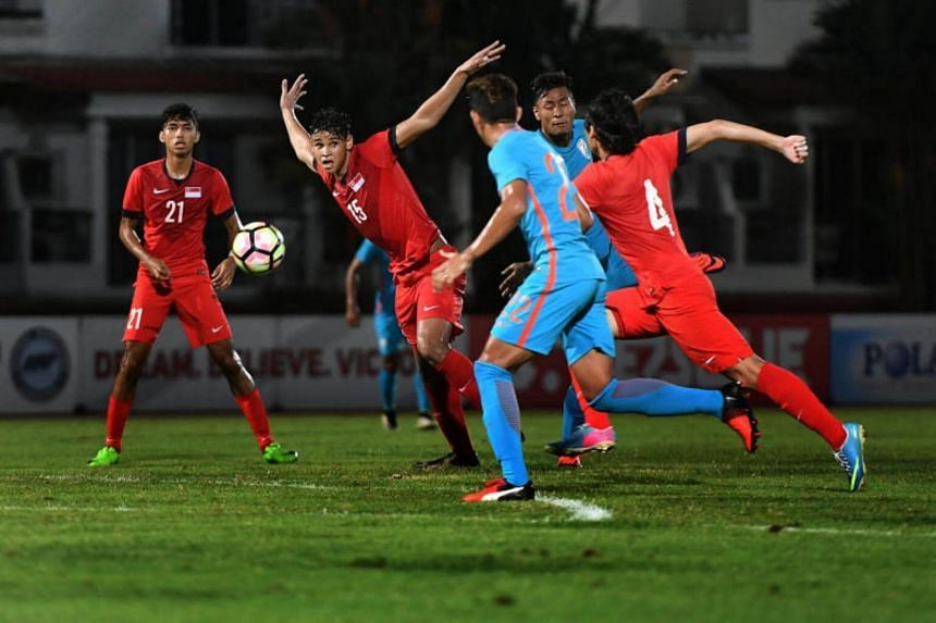 Young Lions competing against India's U-23 side during a friendly match at Choa Chu Kang Stadium on July 9, 2017.