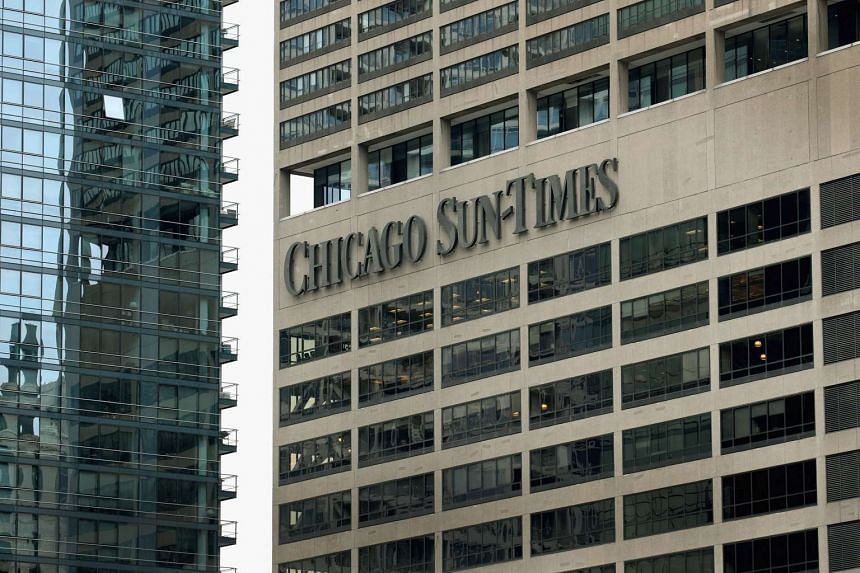 A sign outside the building that houses the offices of the Chicago Sun Times in Chicago, Illinois.