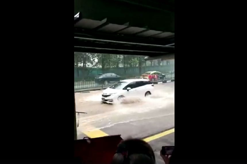 A screengrab from a video of heavy rains wreaking havoc in various parts of Singapore on Friday (July 14), with fallen trees and flash flooding.