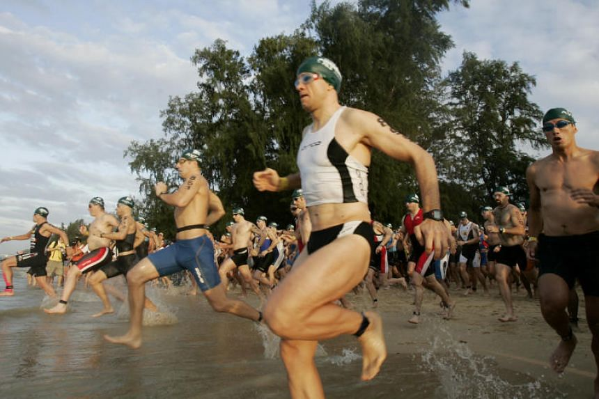 The swimming part of an Ironman event in Singapore.