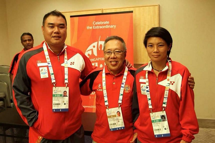 (From left) New SRU technical director Gene Tong, former SRU president Low Teo Ping, and national women's rugby head coach Wang Shao Ing at the SEA Games in 2015.
