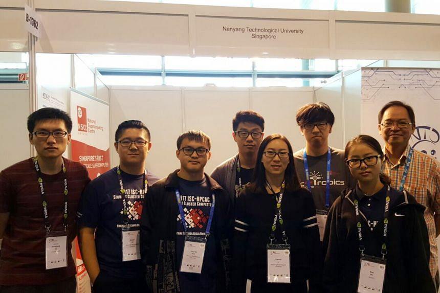 (From left) co-adviser Lu Shengliang, team members Liu Siyuan, Tan Ying Hao, Ren Daxuan, Li Yuanrui, Shao Yiyang and Wu Bian, with Prof Francis Lee, also an adviser, at the International Supercomputing Conference 2017 in Frankfurt, Germany.