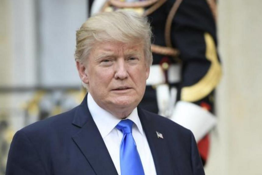 US President Donald J. Trump after his meeting with French President Emmanuel Macron (not pictured) at the Elysee Palace in Paris on 13 July.