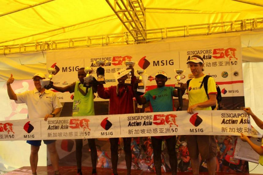 Kenya's David Mutai and Valentine Jepkemoi Serem won first place for the MSIG Singapore Action Asia 50 race event.