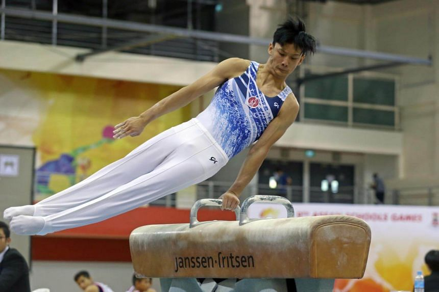Zac Liew on the pommel horse in the teams finals of the Asean Schools Games gymnastics competition at Bishan Sports Hall on July 15, 2017.