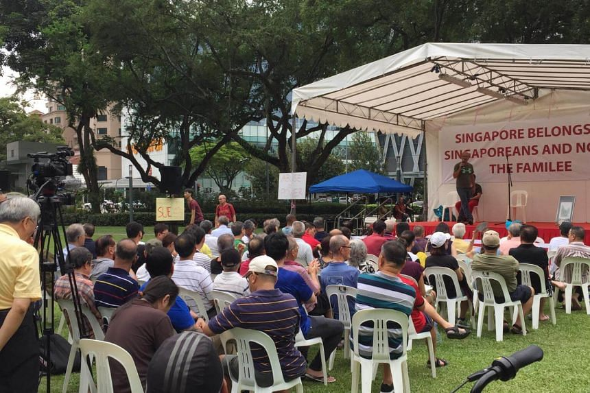 Organiser Gilbert Goh speaks to attendees at Hong Lim park on July 15, 2017.