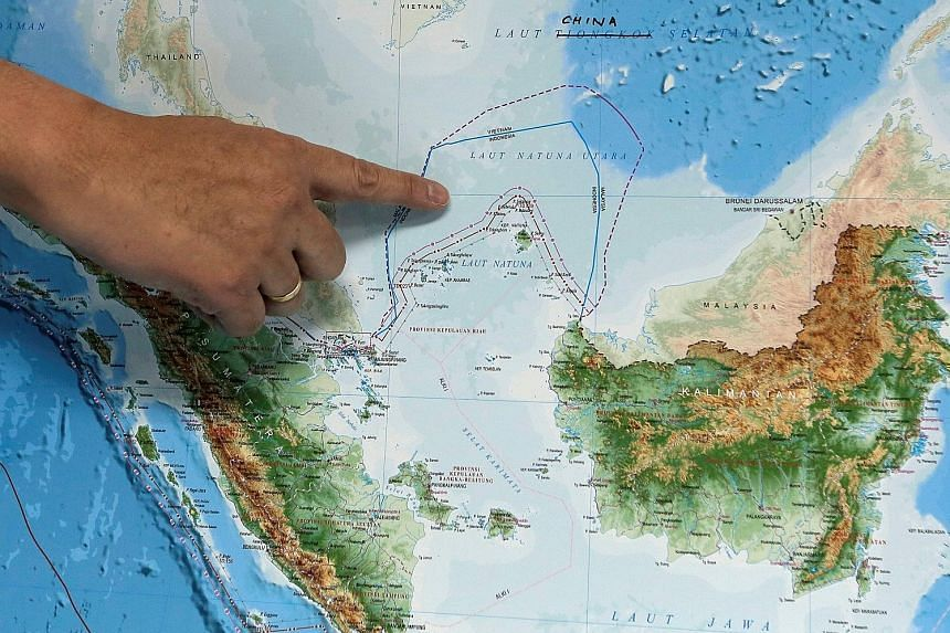 The location of the North Natuna Sea on a new map of Indonesia yesterday.
