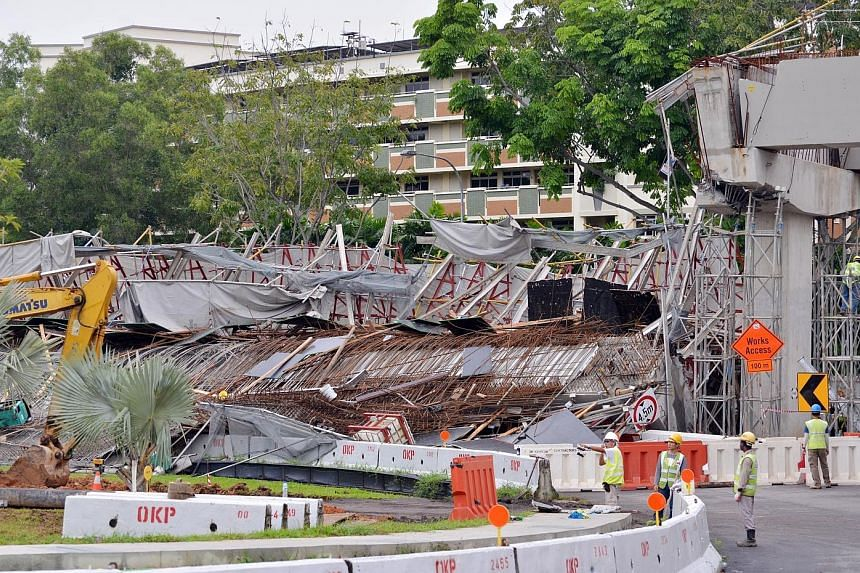 The worksite accident in Upper Changi Road East early yesterday morning left one worker dead and 10 injured. Preliminary investigations have found that failed corbels were responsible for the collapse of a section of the viaduct adjacent to a slip ro