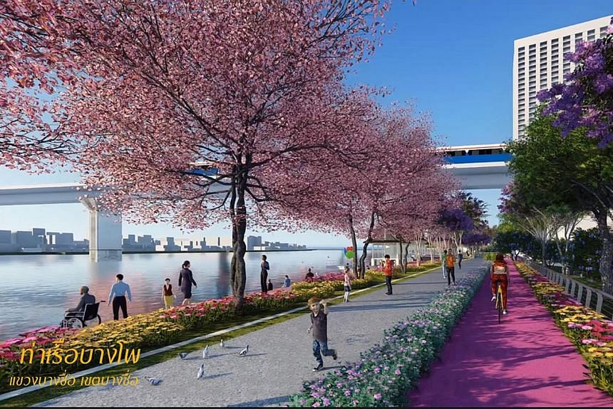Right: The pier at Rama VII Bridge where the new lane will begin, stretching southwards towards Phra Pinklao Bridge. Its construction is slated to start next month. Far right: An artist's illustration of how the embankment will look.