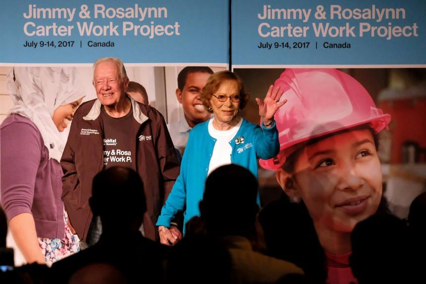 Former US President Jimmy Carter and his wife Rosalyn Carter at the Canadian Museum for Human Rights during a closing ceremony for a Habitat for Humanity project in Winnipeg, Manitoba, Canada, on July 14, 2017.