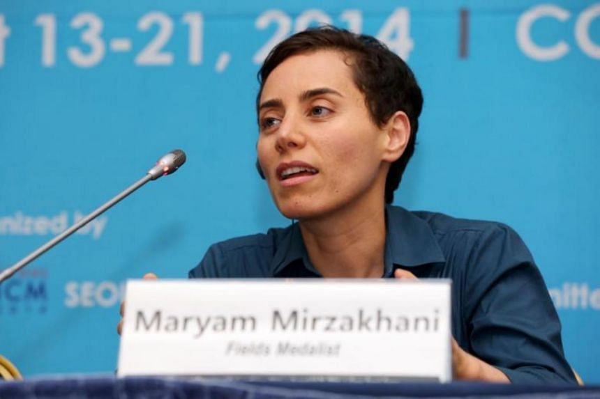 Maryam Mirzakhani during a press conference after the awards ceremony for the Fields Medals at the International Congress of Mathematicians 2014 in Seoul on August 13, 2014.