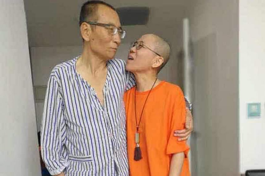 An undated photo of Chinese dissident Liu Xiaobo with his wife Liu Xia at an undisclosed location. Chinese doctors said Madam Liu was by her husband's side when he died of liver cancer in custody on Thursday.