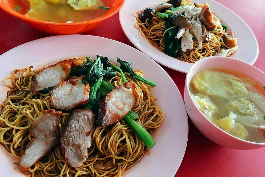 Lean pork collar and pork shoulder are used to make char siew at Zhenguang Wantan Noodles stall.