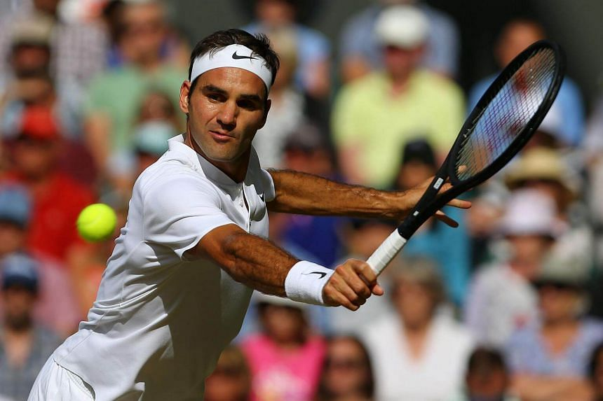 Switzerland's Roger Federer during his men's singles semi-final match during the 2017 Wimbledon Championships on July 14, 2017.