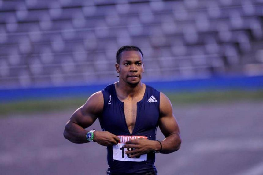 Jamaican Yohan blake looks on after finishing in first place during the senior trials, held at the National Stadium in Kingston on June 25, 2017.