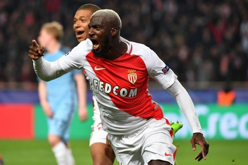Monaco's French midfielder Tiemoue Bakayoko celebrates after scoring a goal during the UEFA Champions League in Monaco on March 15, 2017.