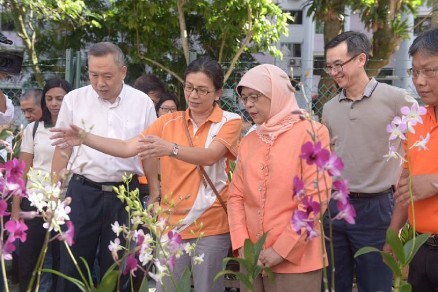 Madam Halimah Yacob (third from right) speaking to residents in her Marsiling-Yew Tee GRC constituency on July 16, 2017. She said she is considering standing in the coming presidential election in September.