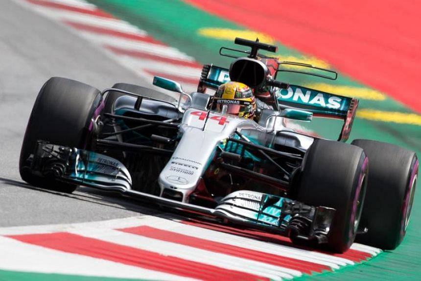 Mercedes' British driver Lewis Hamilton drives his car during the third practice session of the Formula One Austria Grand Prix at the Red Bull Ring in Spielberg, on July 7, 2017.