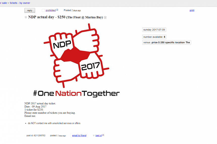 An advertisement on Craigslist on July 9, listing five National Day Parade tickets for sale.