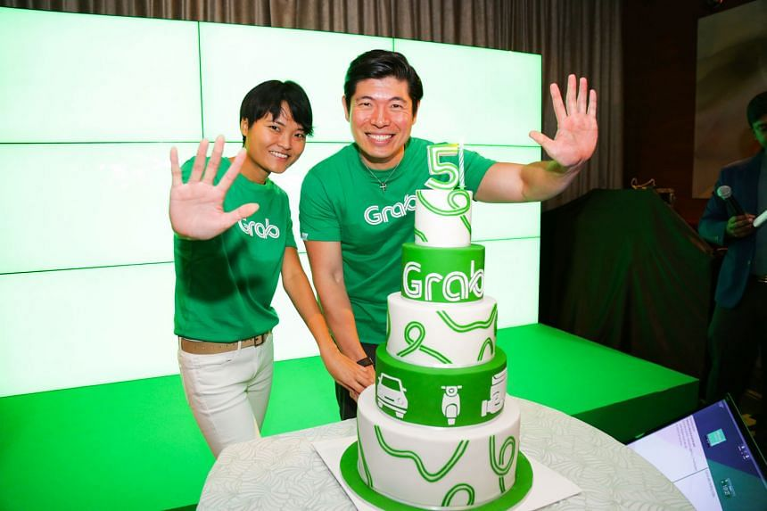 The co-founders at Grab's fifth-anniversary celebration last month. The start-up was initially known as MyTeksi, but the name was later changed for a more regional appeal.